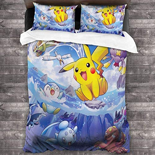 POMJK Pokémon Bed Linen Set, Pikachu Duvet Cover, 3D Print Children's Bed Linen, 3-Piece Set, Cartoon Anime Duvet Cover (A02, 220 x 240 cm + 80 x 80 cm x 2)