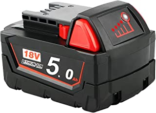 P0WER ELEKTR0 5.0Ah Lithium-Ion Battery Compatible with Milwaukee M18 18V tools 48-11-1820 48-11-185048-11-1828 48-11-10 C...