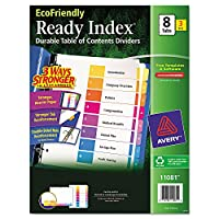 Avery 11081Ecofriendly Readyインデックスタブセット、8、8.5X 11、マルチカラー、3セット/ PK