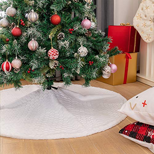 N /A Henrey Tech Weihnachtsbaum Rock Weiß Sanft Plüsch 90 cm Rund Weihnachtsbaumdecke Liebesmuster Weihnachtsbaum Deko