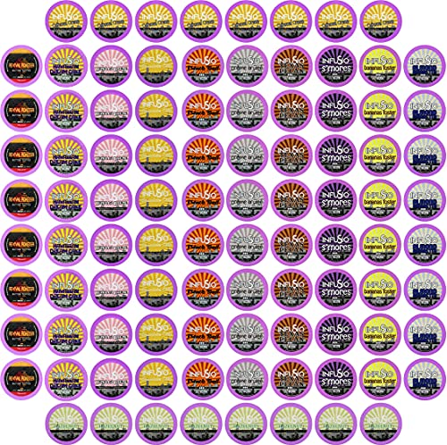 96 Count Flavored coffee Variety Pack (12 Flavored Blends), Single-serve Cups for Keurig K cups Brewers - InfuSio Premium Roasted Coffee (Variety, 96 Compatible with 2.0)