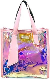 Wultia - Women's Shoulder Bag Laser Handbags Totes New 2pcs Multi-Function Color Handbag Female Messenger Bag Shoulder Bags #M Pink