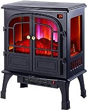 KJYT Chimenea Eléctrica, Potencias 2000W Efecto Realista de Llamas, Compartimento para Troncos de leña Decorativa - Negro