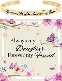 Glamour Girl Gifts Daughter Bracelet from Mom Dad ''Always My Daughter Forever My Friend'' Sentimental Cuff Bracelet