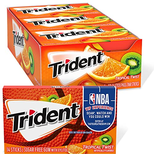 Trident Tropical Twist Sugar Free Gum, 12 Packs of 14 Pieces (168 Total Pieces)