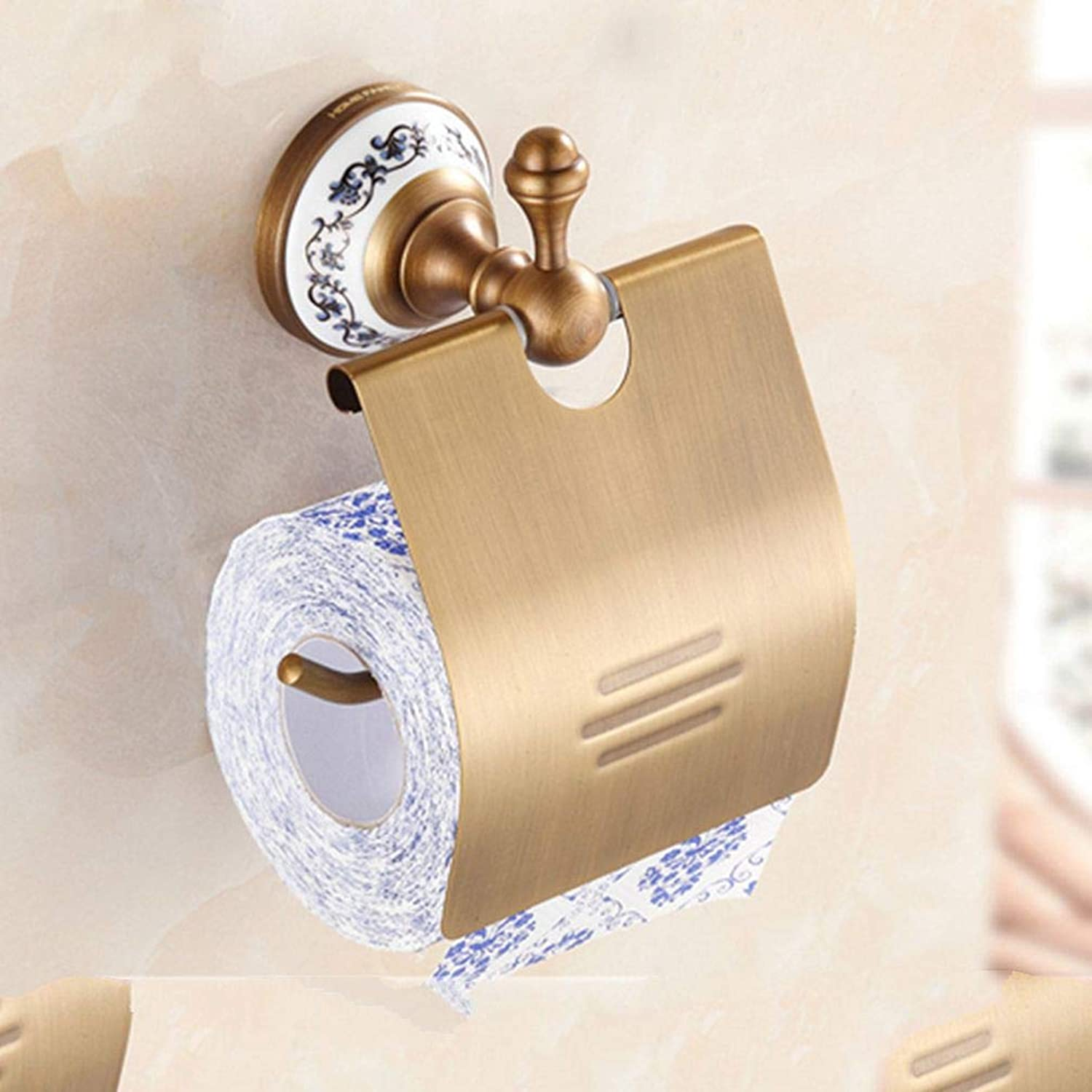 LUDSUY Wall Mounted Toilet Paper Holders Antique Brass Creative Bathroom Roll Paper Rack Rod,BBathroom Accessories
