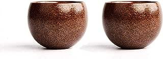 QMFIVE Hand painted ceramic color tea cup for Puer tea - 2 Pcs,(Yellow Emperor)