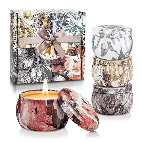 Yinuo Candle Scented Candles Gifts Set for Women,Portable Tin Aromatherapy Soy Candles Lavender Fragrance for Bath Yoga Thanksgiving for Christmas Mother's Day Valentine's Day Birthday Gifts