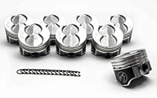 Set of (8) Speed Pro Hypereutectic Coated Flat Top Pistons+MOLY Ring Kit compatible with Ford 351W 5.8. (std bore)