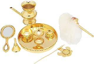 GoldGiftIdeas 24K Gold Plated Jain Diamond Pooja Thali Set, Pooja Thali Decorative Plate, Unique Festive Gift