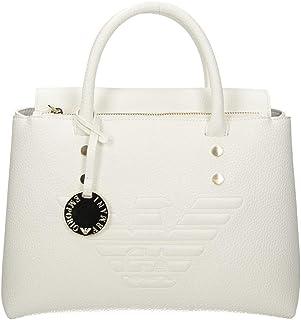 Emporio Armani Weiße Tasche aus Kunstleder mit Logo AQUILA
