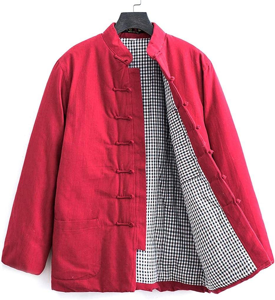 FMOGG Winter Cotton Tang Suit Men Tai Chi Uniform Long Sleeve Chinese Traditional Clothes Tops,Hanfu Jacket Kung Fu Clothing Shirt Coat Martial Arts Suit Cyan-XL