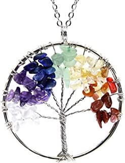 "Tree of Life Necklace Gemstone Necklace 26"" -28"" Chain Healing Crystals Chakra Jewelry Anniversary Valentine's"