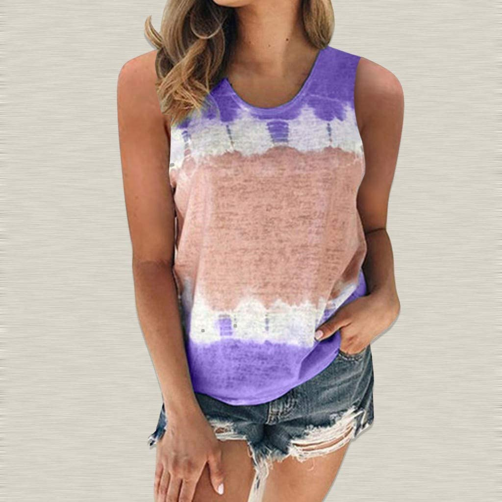 Gerichy Tank Tops for Women, Womens Summer Casual Sleeveless Loose Fit Plus Size Tank Shirts Blouses Tunics Tops Vest