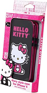 Hello Kitty Diary Style Case with Glitter for iPhone 5/5S - Retail Packaging - Black/Pink