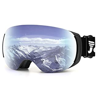 JetBlaze Ski Goggles, Magnet Interchangeable Spherical Lens Snow Goggles, UV400 Protection Snowboard Goggles, Anti-Fog Snowmobile Goggles with Anti-Slip Strap for Men Women Youth Adult