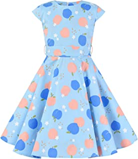 Girls Summer Swing Casual Clothes Vintage Floral Print Polka Dot Dress for 3-11Years