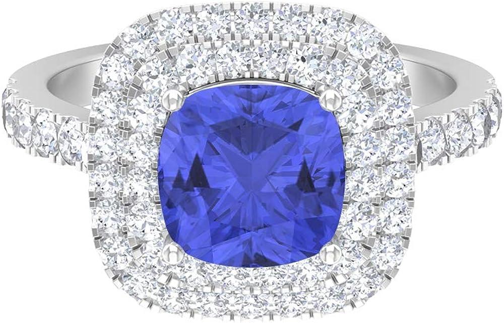 3.11 CT Tanzanite Solitaire Ring Moissanite Double shipfree D-VSSI Halo Cheap
