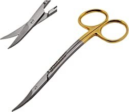 Scissors 4.5 inch LaGrange double curved Gold Plated handle Dental ENT EYE DERMA with tungsten carbide inserts BY Wise Linkers