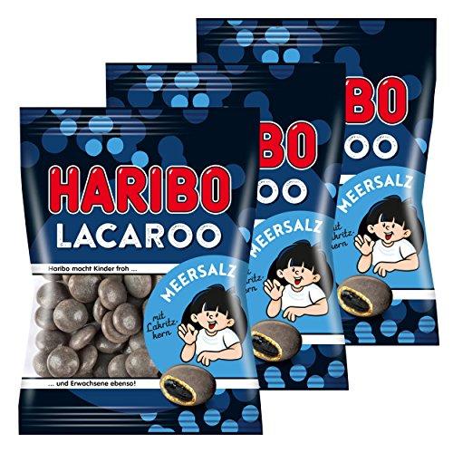 Haribo Lacaroo Meersalz, 3er Set, mit Lakritzkern, Gummibärchen, Weingummi, Fruchtgummi, im Beutel, 375 g