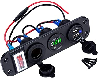 RUNGAO 4-in-1 Digital Voltmeter 12V Power Socket Dual-USB Charger Adapter Cigarette Lighter with Rocker Switch Green
