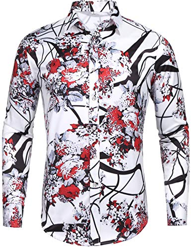 Pacinoble Mens Long Sleeve Cotton Luxury Design Floral Carnival Baroque Retro Pattern Shows Party Daily Life Print Dress Shirt (Red S)
