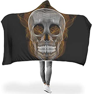 B5TDF-9 Bat Blanket Blend Skull Patterns Print Sherpa Comfort Blanket Hoodie - fire Skull Original Suitable for Daily Life Use White #8055#