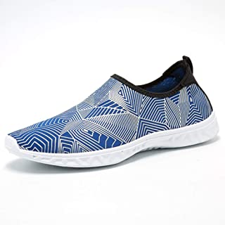 KUVV Silver/blue men and women water shoes surf beach swimming snorkeling and quick-drying drainage breathable soft and li...