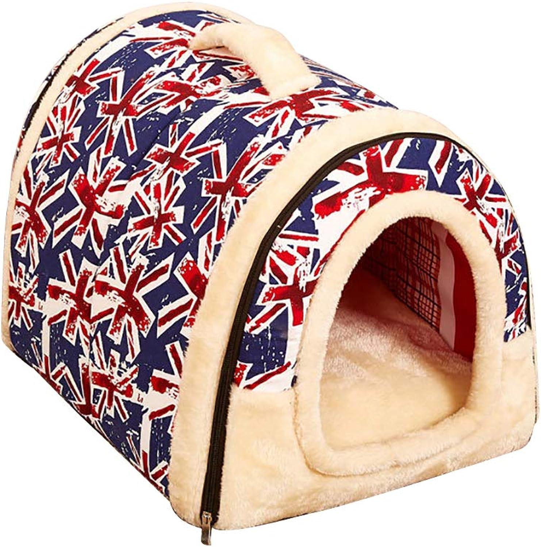 Pet Bed Super Soft Dog House 2in1Detachable Design Anti Slip Folding Removable Pad Resistant Base Winter (S 353028cm, Multicolor)