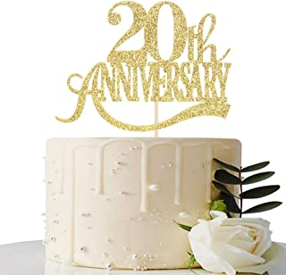 Gold Glitter 20th Anniversary Cake Topper - for 20th Wedding Anniversary / 20th Anniversary Party / 20th Birthday Party Decorations