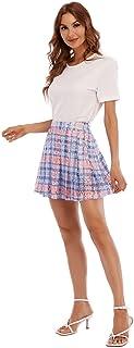 Women's Fashion High Waist Plaid Pleated Skirt A-line...