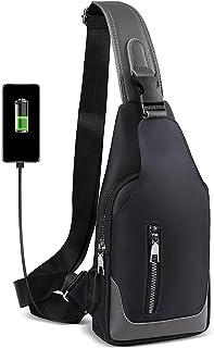 HEROIC KNIGHT Bolsa de Pecho con Puerto de Carga USB, Bolsa Bandolera Hombre Impermeable, Sling bag Bolsos Cruzados Mochil...