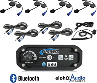 Rugged Radios RRP696 Black Out Series Intercom 4 Place Kit with Helmet Kits, Push to Talk Cables and Intercom Cables