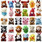 32 Piece Mini Plush Animal Toy Set, Cute Small Animals Plush Keychain Decoration for Themed Parties, Kindergarten Gift Giveaway, Teacher Student Award, Goody Bags Filler For Boys Girls Child Kid