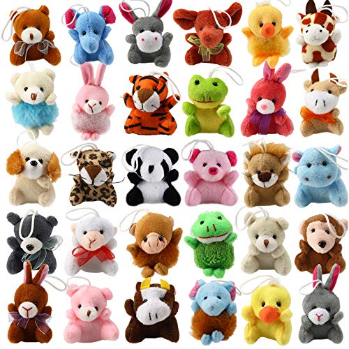 32 Piece Mini Plush Animal Toy Set, Cute...