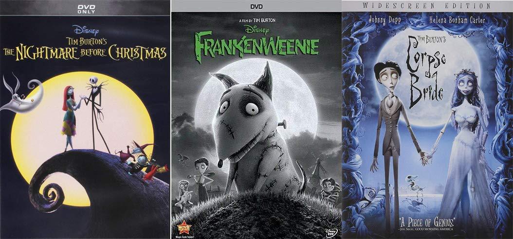 The Ultimate Animated Tim Burton Family Fun Pack: The Nightmare Before Christmas + The Corpse's Bride + Frankenweenie 3 Movie Bundle Disney
