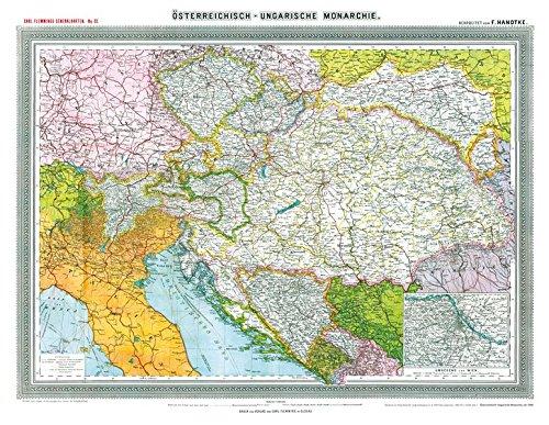 Historische Landkarte: ÖSTERREICHISCH-UNGARISCHE MONARCHIE, um 1908 [Plano-Reprint]