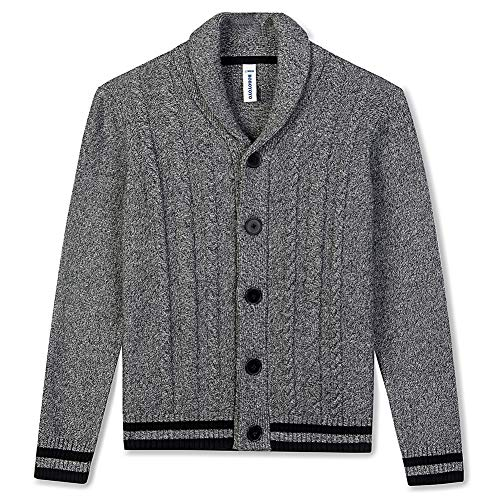 BOBOYOYO Boys Cardigan Sweater Long Sleeve Cotton Sweater Soft Warm Cross Neckline for Kids Size 4-12Y Gray