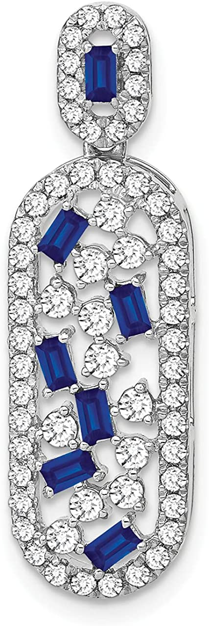 Lex Lu 14k White Gold and Sapphire Large discharge sale LAL3340 New Shipping Free Diamond Pendant