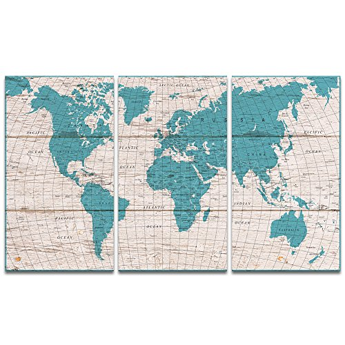 Visual Art Decor Retro Xlarge Detailed Map of the World Canvas Prints Push Pins City Name Travel Map Picture Blue Wall Art Decoration for Office Living Room Ready to Hang (W-60' by H-36')