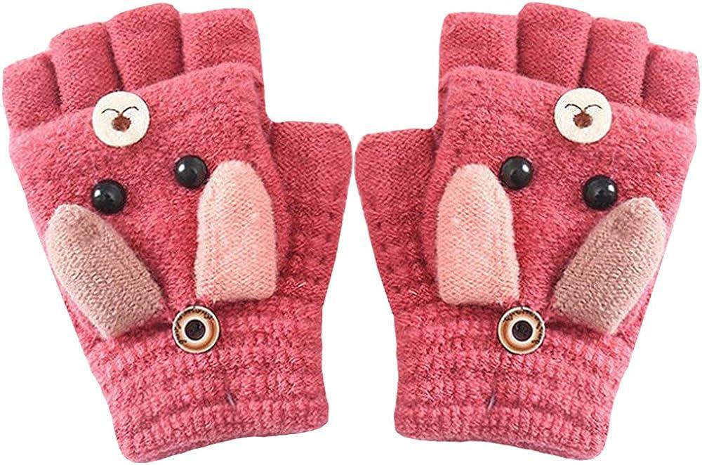 Rebecca Women Girls Winter Gloves Warm Wool Knitted Writing Gloves Convertible Fingerless Mittens