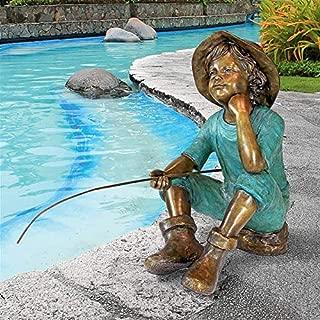 Design Toscano PN6961 Fish Wish Fisherboy Garden Statue, 29 Inch, Sepia & Verdigris
