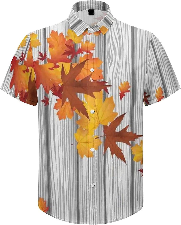 Mens Button Down Shirt Maple Leafs Wooden Board Casual Summer Beach Shirts Tops