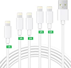 Bestf MFi Certified iPhone Charger,Lightning Cable 5Pack 1ft+3ft+3ft+5ft+5ft iPhone Charger Cable for Charging and Syncing Compatible with iPhone 11/11 Pro/X/XS/XR/XS Max/8/8 Plus/7/7 Plus/iPad