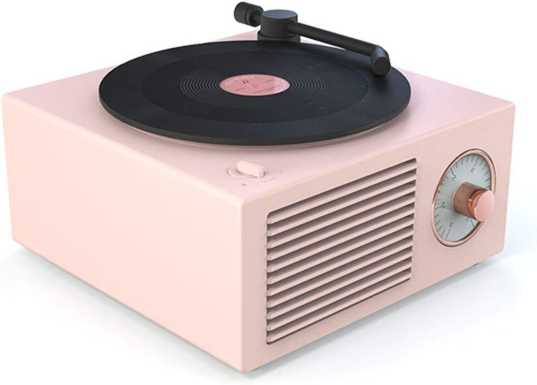 HLONGG Mini Portable Retro Bluetooth Speaker Sound Plate Gramophone Turntable Multifunction Retro Player Stereo Music Playback,Pink