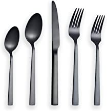 Berglander Flatware Set 20 Pieces With Black Titanium Plated, Stainless Steel Black Silverware Set, Black Cutlery Set, Service For 4 (Matte Black)