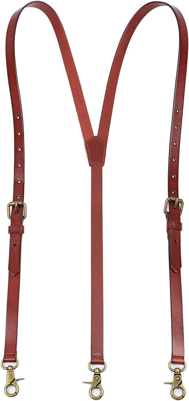 ROCKCOW Mens Genuine Leather Suspenders Y-Back Adjustable Belt Loop Suspenders Great for Casual,wedding & Formal Even