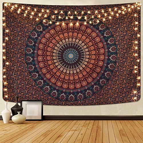 Alishomtll Mandala Wandbehang Bohemian Wandteppich Tapisserie Yoga psychedelisch Deko Tuch Tapestry groß 180 x 235cm