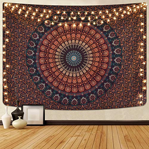 Brown mandala tapestry Psychedelic tapestry Yoga mat Indian mandala Bohemian tapestry Tarot Wall-mounted(Brown mandala XXL/180x230cm)