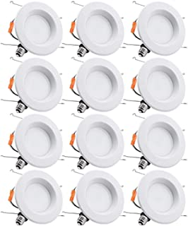 TORCHSTAR 12-Pack 5-6 Inch Dimmable Recessed LED Downlight with Smooth Trim, 15W (90W Eqv.), CRI 90, UL/Energy Star, 5000K Daylight, 1112lm, LED Retrofit Lighting, 5 Years Warranty